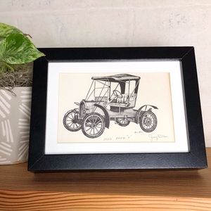 """Small Vintage Etched Print of 1902 Ford """"T"""""""